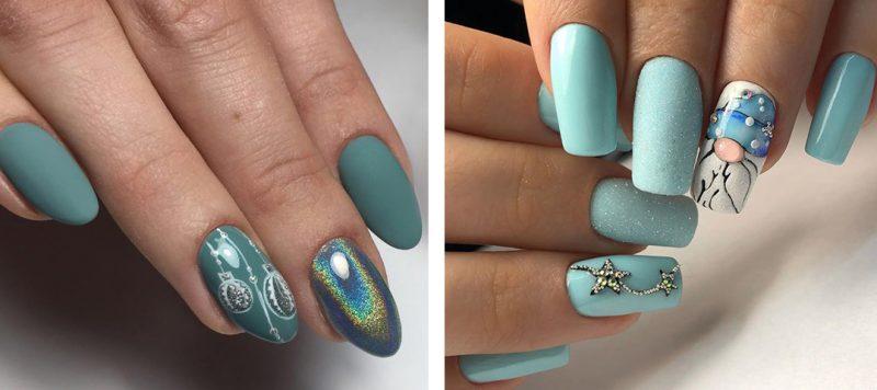 красивые зимние рисунки на ногтях
