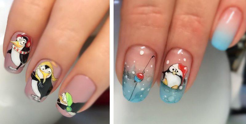 зимние рисунки на ногтях с пингвинами
