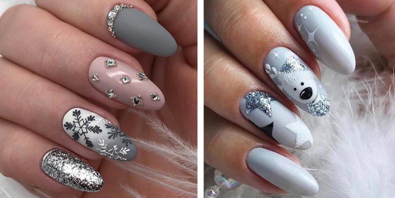 зимний дизайн маникюра на длинные ногти