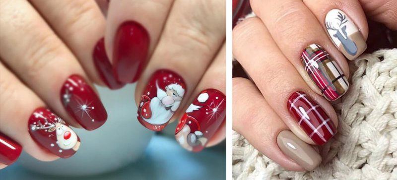 рисунок на ногтях зимние узоры