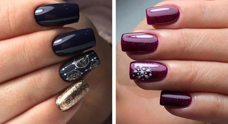 модный зимний маникюр на длинные ногти дизайн